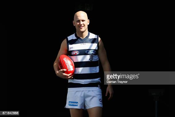 Gary Ablett takes to the ground during a Geelong Cats AFL media opportunity at GMBHA Stadium on November 9 2017 in Geelong Australia