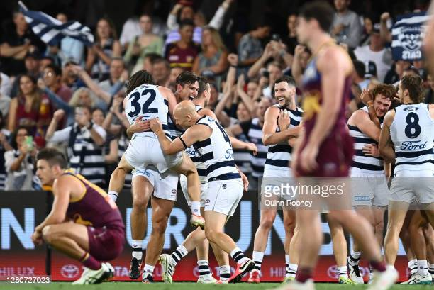 Gary Ablett, Tom Hawkins and Gryan Miers of the Cats celebrate after the Cats defeated the Lions during the AFL 2nd Preliminary Final match between...