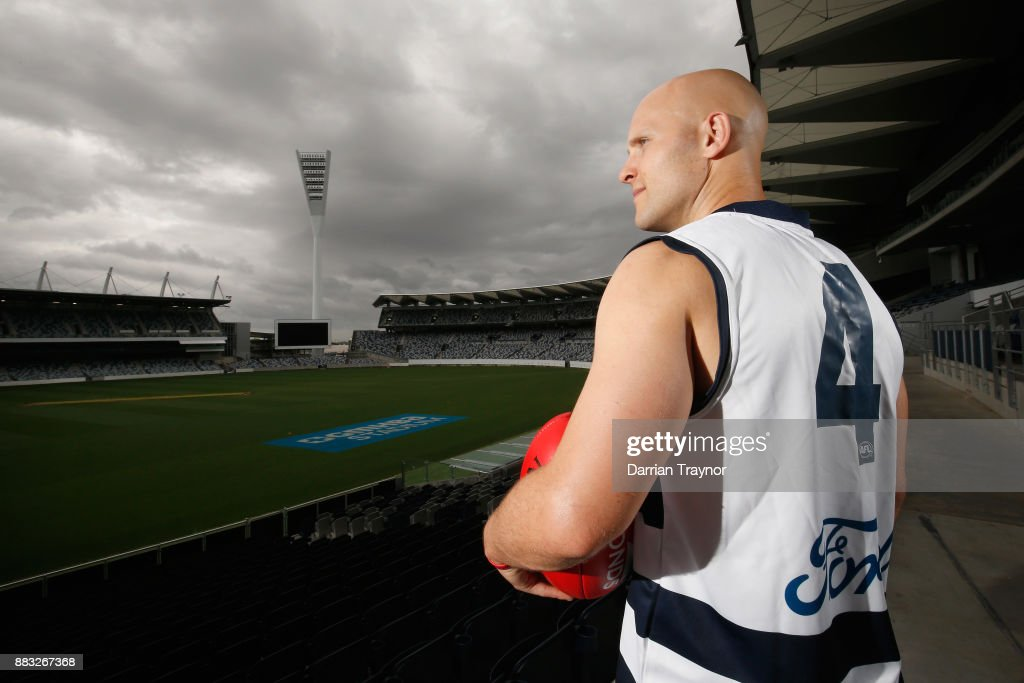 Gary Ablett unveils his new number during a Geelong Cats Media Session at GMHBA Stadium on December 1, 2017 in Geelong, Australia.