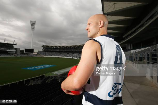 Gary Ablett unveils his new number during a Geelong Cats Media Session at GMHBA Stadium on December 1 2017 in Geelong Australia