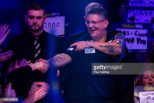 Gary Anderson during the walk on before his third round match against Jermaine Wattimena during Day 10 of the 2019 William Hill World Darts...