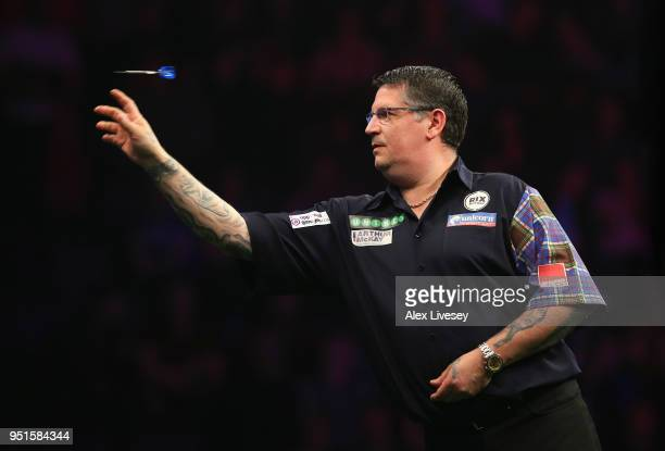 Gary Anderson in action during his match against Simon Whitlock in the 2018 Unibet Premier League at The Manchester Arena on April 26 2018 in...