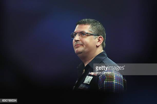 Gary Anderson of Great Britain looks on during his match against Peter Wright of Great Britain in their semifinal match on day fourteen of the 2017...