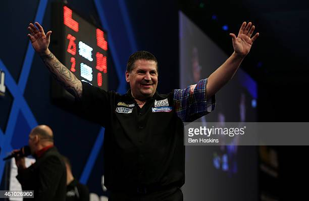Gary Anderson of Scotland celebrates after winning the final of the 2015 William Hill PDC World Darts Championships at Alexandra Palace on January 4...