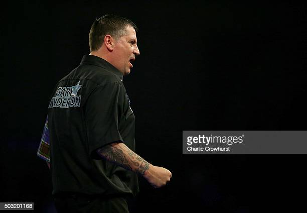 Gary Anderson of Scotland celebrates winning his semifinal match against Jelle Klaasen of Holland during the 2016 William Hill PDC World Darts...
