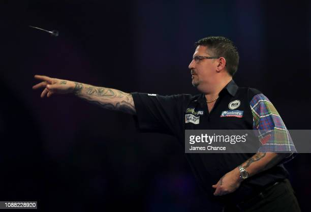 Gary Anderson of Scotland in action during the 2019 William Hill World Darts Championship SemiFinal match between Michael van Gerwen and Gary...