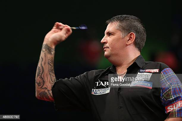 Gary Anderson of Scotland in action during the Auckland Darts Masters at The Trusts Arena on August 28 2015 in Auckland New Zealand