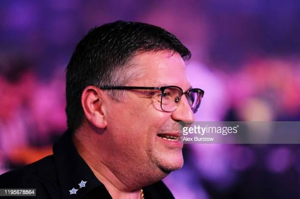 Gary Anderson of Scotland is interviewed after winning his Third Round match against Ryan Searle of England during Day Eleven of the 2020 William...