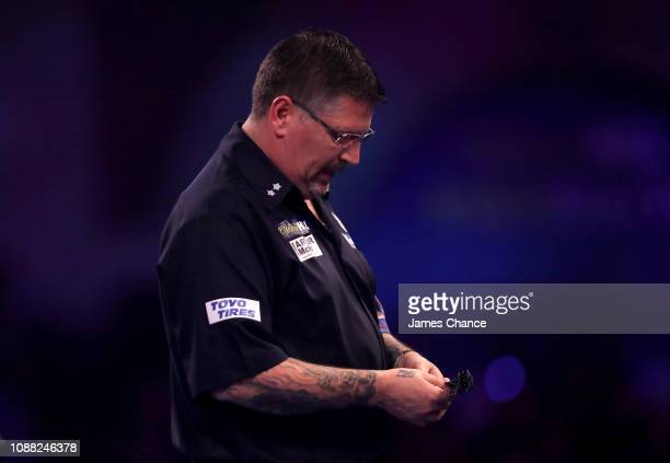 Gary Anderson of Scotland looks on during the 2019 William Hill World Darts Championship SemiFinal match between Michael van Gerwen and Gary Anderson...