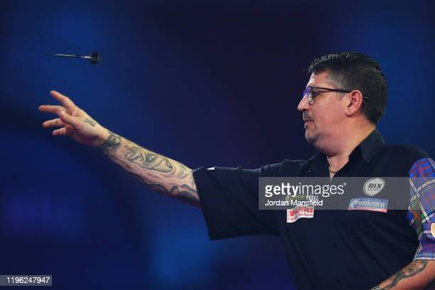 Gary Anderson of Scotland throws during his fourth round match against Nathan Aspinall of England on Day 12 of the 2020 William Hill World Darts...