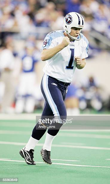 Gary Anderson of the Tennessee Titans celebrates during the game against the Indianapolis Colts at the RCA Dome on December 5 2004 in Indianapolis...