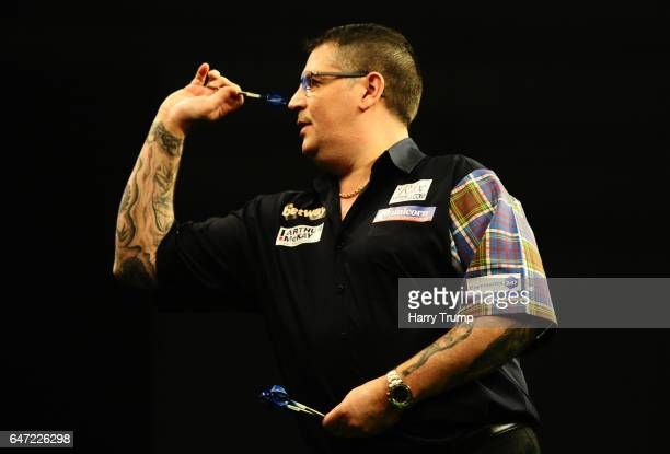 Gary Anderson throws during Night Five of the Betway Premier League Darts at Westpoint Arena on March 2 2017 in Exeter England