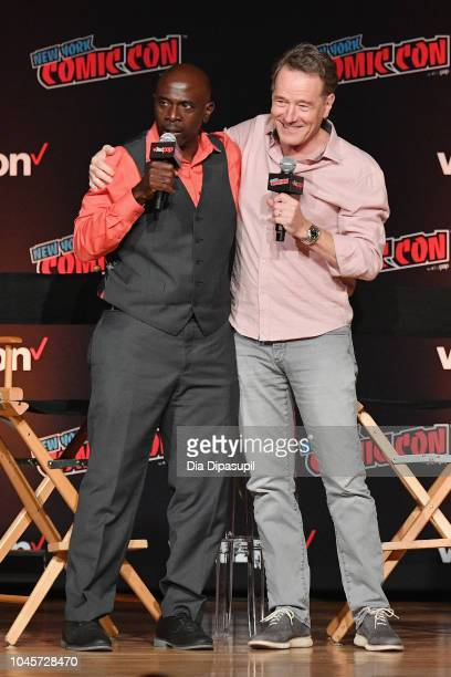 Gary Anthony Williams and Bryan Cranston speak onstage at the Sony Crackle Presents SuperMansion panel during New York Comic Con 2018 at Jacob K...