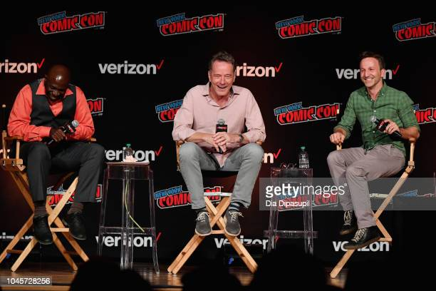 Gary Anthony Williams Bryan Cranston and Breckin Meyer speak onstage at the Sony Crackle Presents SuperMansion panel during New York Comic Con 2018...