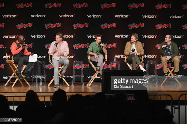 Gary Anthony Williams Bryan Cranston Breckin Meyer Zeb Wells and Matthew Senreich speak onstage at the Sony Crackle Presents SuperMansion panel...