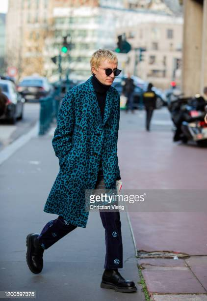 Gary Armstrong seen wearing blue coat with animal print outside Lanvin during Paris Fashion Week Menswear F/W 20202021 on January 19 2020 in Paris...
