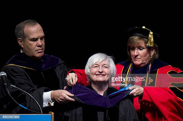 Gary Attman representative for the University System of Maryland Board of Regents left and Darlene Smith provost of the University of Baltimore...