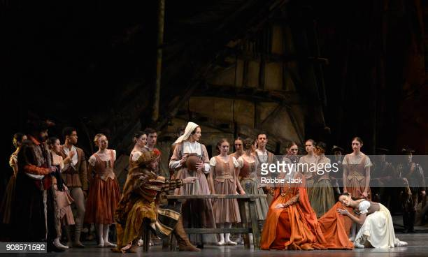 Gary Avis The Duke of Courland Elizabeth McGorian as BertheOlivia Cowley as Bathilde and Francesca Hayward as Giselle with artists of the company in...