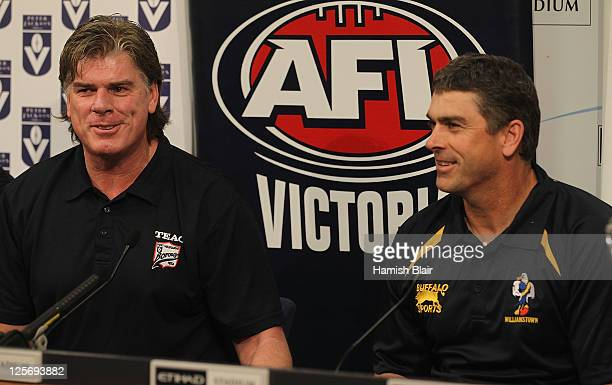 Gary Ayres coach of Port Melbourne and Peter German coach of Williamstown speak to the media ahead of their clubs' upcoming Grand Final during the...