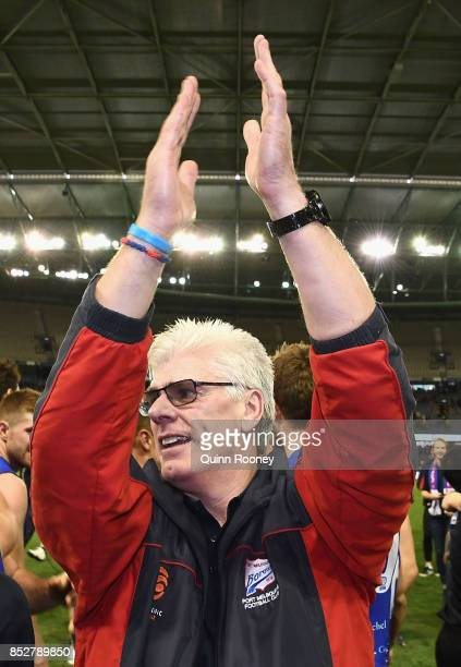 Gary Ayres the coach of Port Melbourne celebrates winning the VFL Grand Final match between Richmond and Port Melbourne at Etihad Stadium on...