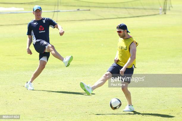 Gary Balance and Mark Stoneman of England play football during an England training session at the WACA on October 31 2017 in Perth Australia England...