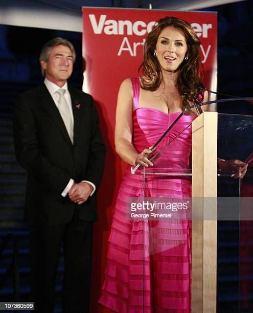 Gary Balasky and Elizabeth Hurley visit the Vancouver Art Gallery in support with Estee Lauder for the Breast Cancer Research Foundation on October...
