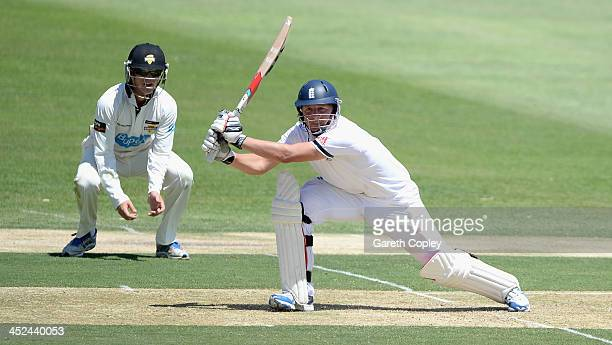 Gary Ballance of England bats during day one of the tour match between the Chairman's XI and England at Traeger Park on November 29 2013 in Alice...