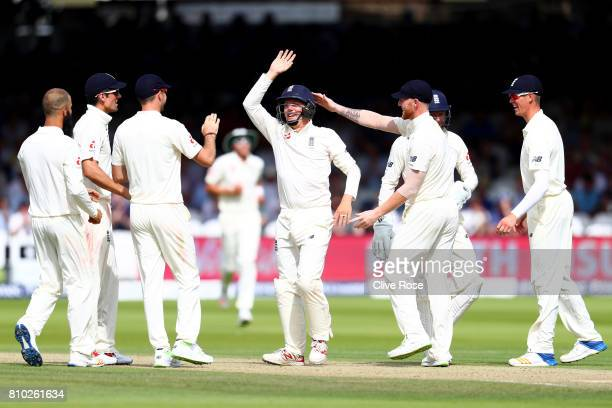 Gary Ballance of England celebrates catching Dean Elgar of South Africa on day two of the 1st Investec Test match between England and South Africa at...
