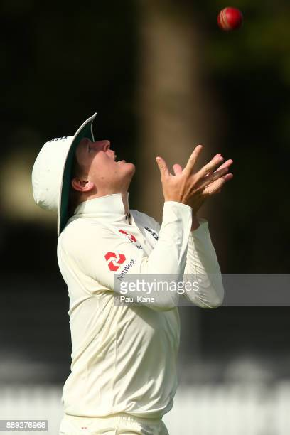 Gary Ballance of England takes a catch to dismiss Jake Doran of the CA XI during the Two Day tour match between the Cricket Australia CA XI and...