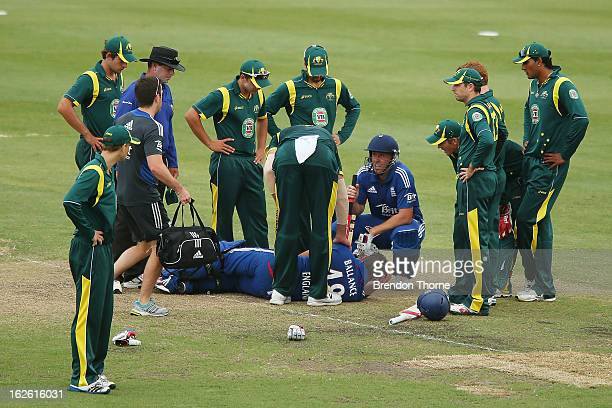 Gary Ballance of the Lions lies on the ground after being struck in the face during the International Tour match between Australia 'A' and the...