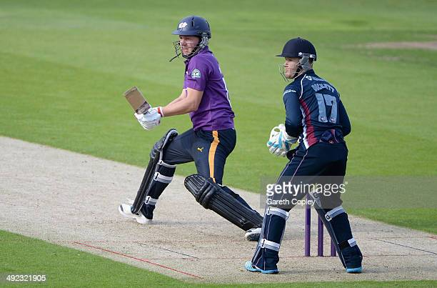 Gary Ballance of Yorkshire bats during the Natwest T20 Blast match between Yorkshire Vikings and Northants Steelbacks at Headingley on May 16 2014 in...