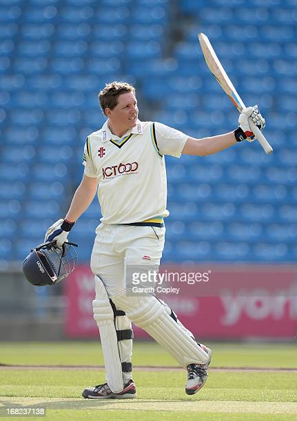 Gary Ballance of Yorkshire celebrates reaching his century during day one of the LV County Championship Division One match between Yorkshire and...
