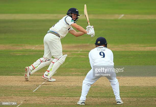 Gary Ballance of Yorkshire hits out during the Specsavers County Championship Division One match between Hampshire and Yorkshire at Ageas Bowl on...