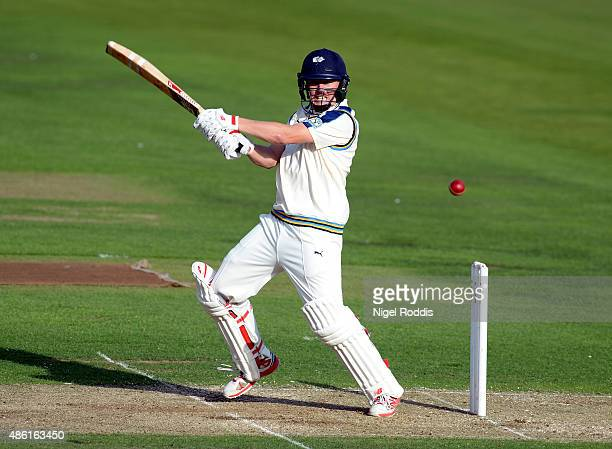 Gary Ballance of Yorkshire plays a shot during the LV County Championship match between Yorkshire and Somerset at Headingley on September 1 2015 in...
