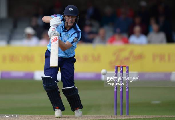 Gary Ballance of Yorkshire Vikings hits out during the Royal London OneDay Cup match between Essex Eagles and Yorkshire Vikings at the Cloudfm County...