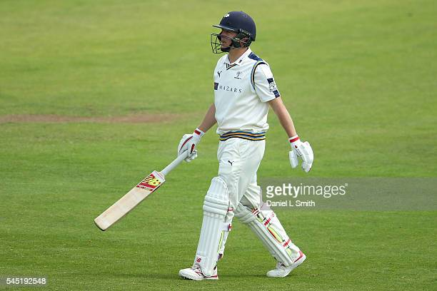 Gary Ballance of Yorkshire walks off dejected after being dismissed by Steve Finn of Middlesex for 3 runs during day four of the Specsavers County...