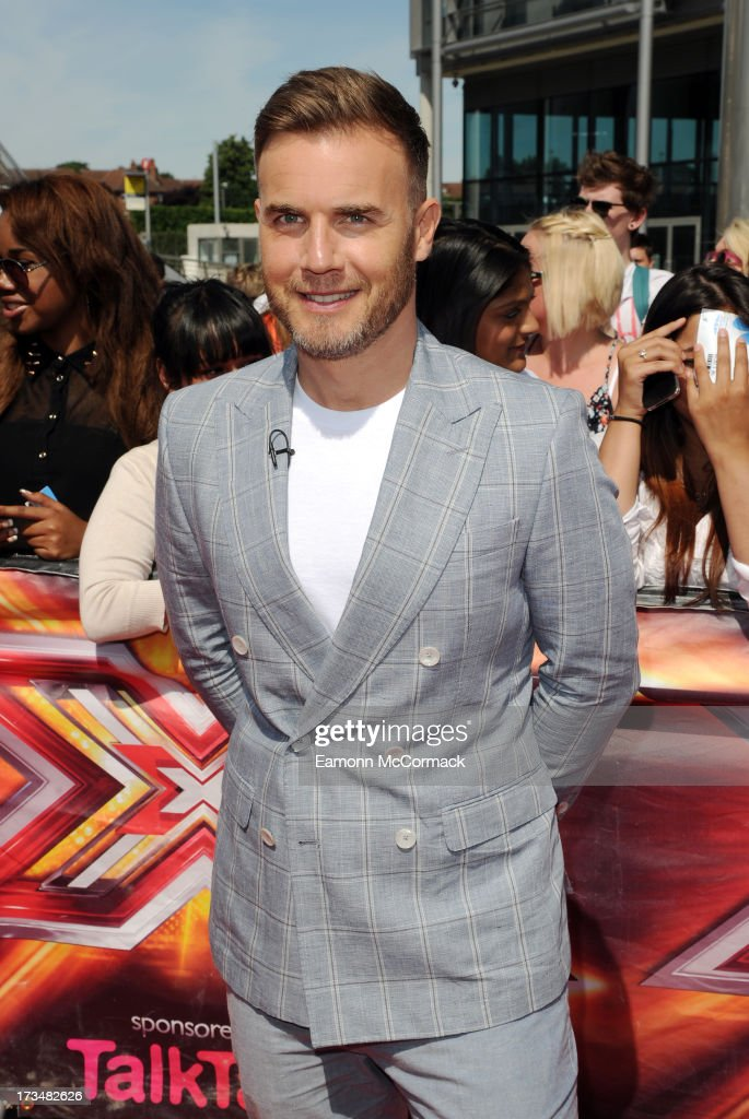 Gary Barlow arrives for the London auditions of The X Factor at Wembley Arena on July 15, 2013 in London, England.
