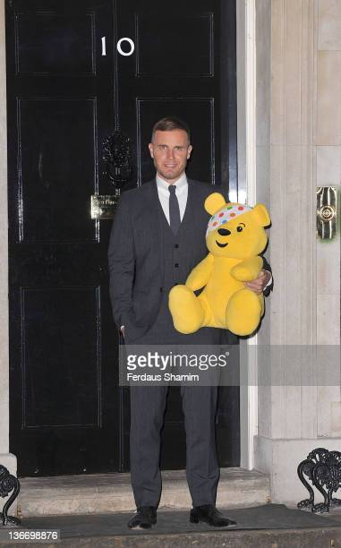 Gary Barlow attends reception hosted by himself and Samantha Cameron for Children in Need at 10 Downing Street on January 10 2012 in London England