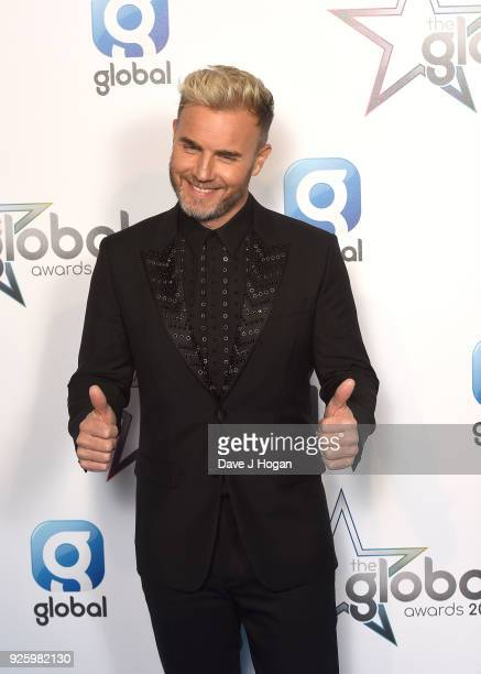 Gary Barlow attends The Global Awards a brand new awards show hosted by Global the Media Entertainment Group at Eventim Apollo Hammersmith on March 1...