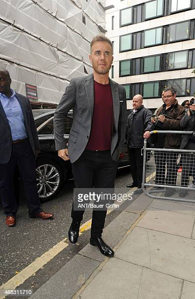 Gary Barlow is seen arriving at the BBC Radio 1 Studios on October 02 2012 in London United Kingdom