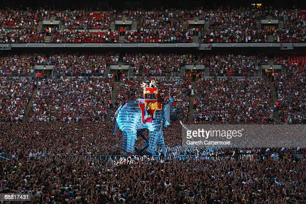 Gary Barlow Jason Orange Howard Donald and Mark Owen of 'Take That' perform onstage for their 'Circus' tour held at Wembley Stadium on July 1 2009 in...