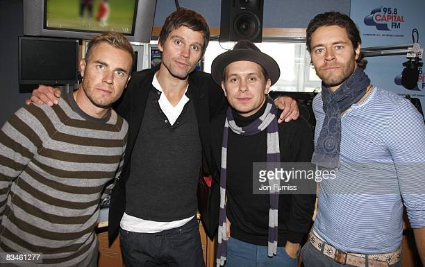 COVERAGE** Gary Barlow Jason Orange Mark Owen and Howard Donald of Take That visit the morning show on Capital Radio on October 28 2008 in London...