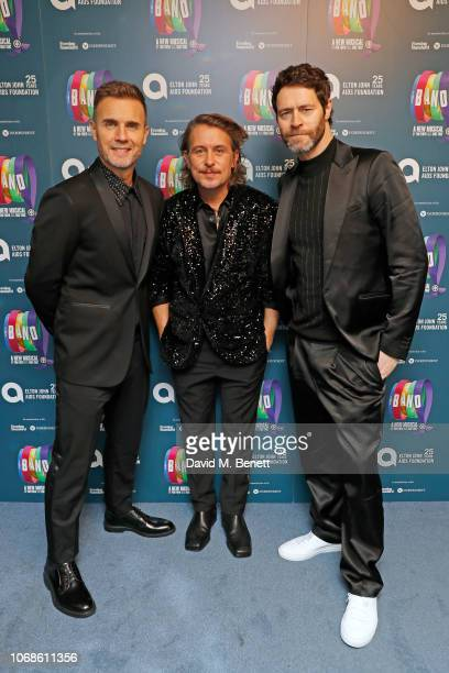 Gary Barlow Mark Owen and Howard Donald of Take That attend the Opening Night Gala of The Band to benefit the Elton John AIDS Foundation supported by...