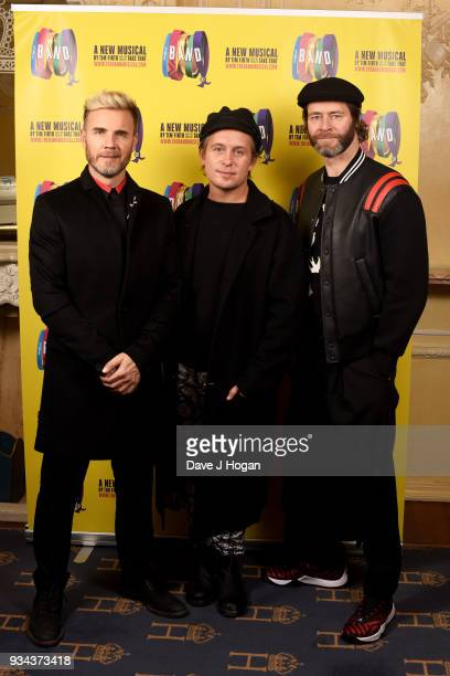 ONLY *** Gary Barlow Mark Owen and Howard Donald of Take That pose at The Theatre Royal Haymarket on March 19 2018 in London England