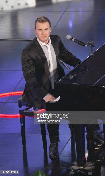 Gary Barlow of Take That during 57th San Remo Music Festival Take That in Concert at Teatro Ariston in Sanremo Italy