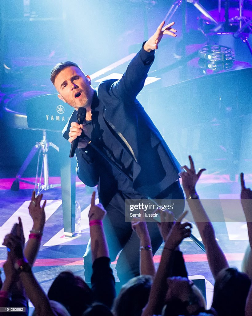 Gary Barlow of Take That performs on stage for the War Child BRITs show at O2 Shepherd's Bush Empire on February 23, 2015 in London, United Kingdom
