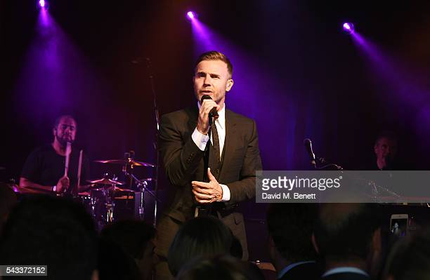 Gary Barlow performs at the Summer Gala for The Old Vic at The Brewery on June 27 2016 in London England
