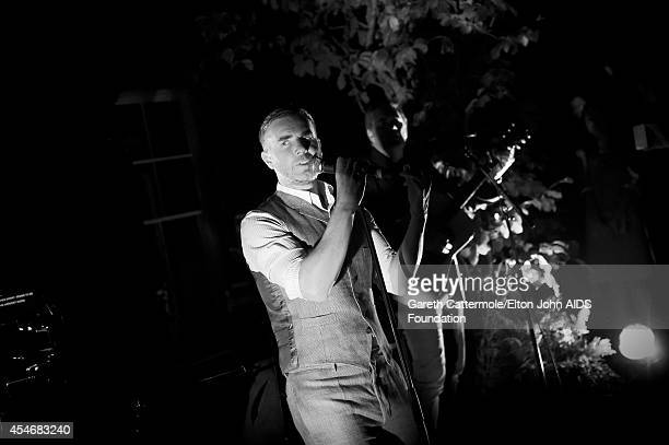 Gary Barlow performs during the Woodside End of Summer party to benefit the Elton John AIDS Foundation sponsored by Chopard and Grey Goose at...