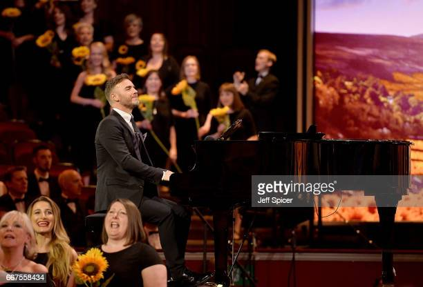 Gary Barlow performs on stage during The Olivier Awards 2017 at Royal Albert Hall on April 9 2017 in London England