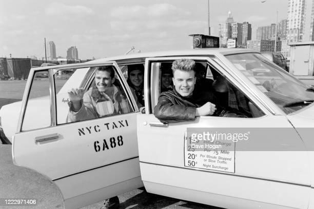 Gary Barlow, Robbie Williams and Jason Orange of Take That in New York 1995
